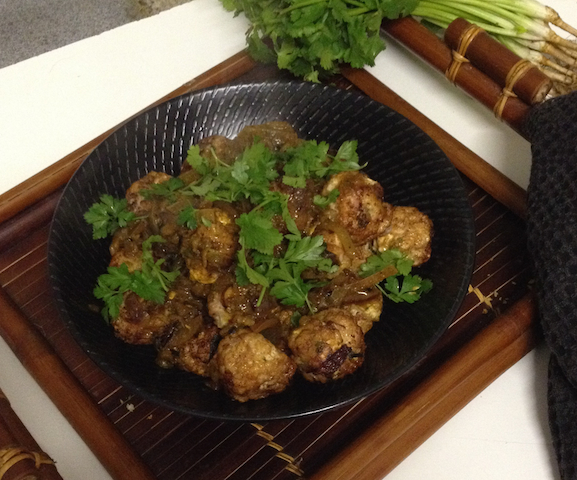 Thai inspired with fresh coriander & ginger, but definately Australian with Sandalwood roasted nuts.